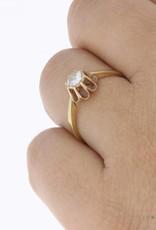 Vintage 14k gouden solitaire ring met ca. 0.35ct roos geslepen piqué diamant