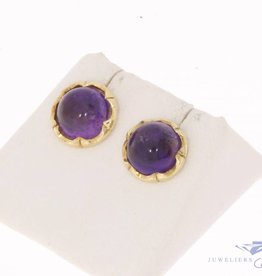 Vintage 14 carat gold circular earstuds with amethyst