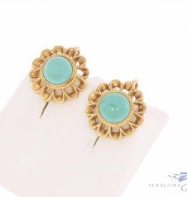 Vintage 14k gouden oorhangers met turkoois