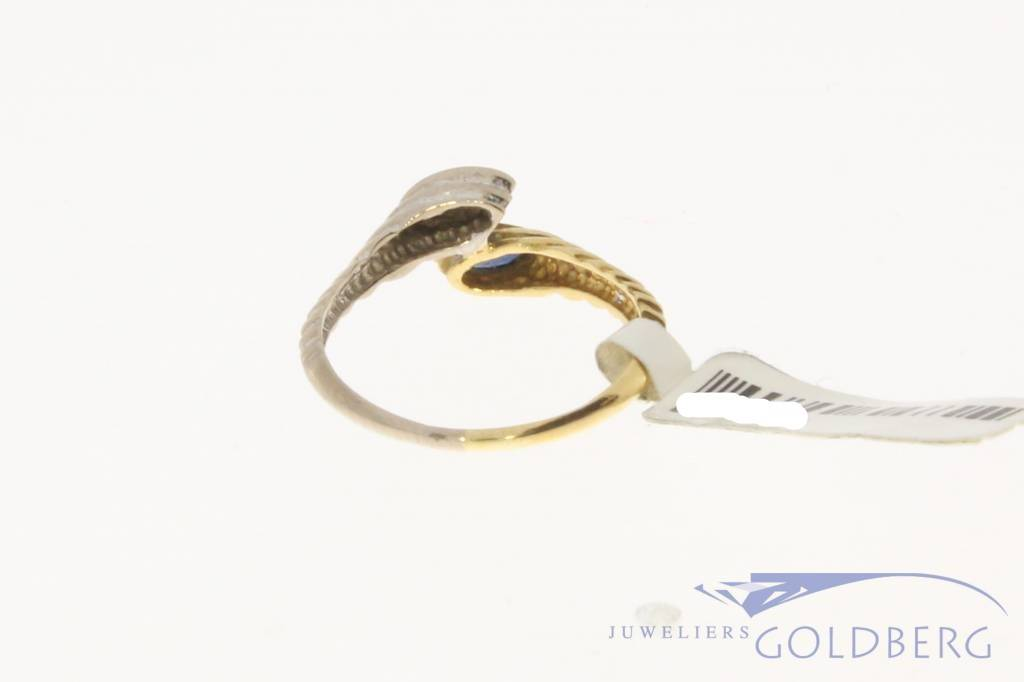 Vintage 18 carat bicolor gold ring with diamond and blue sapphire