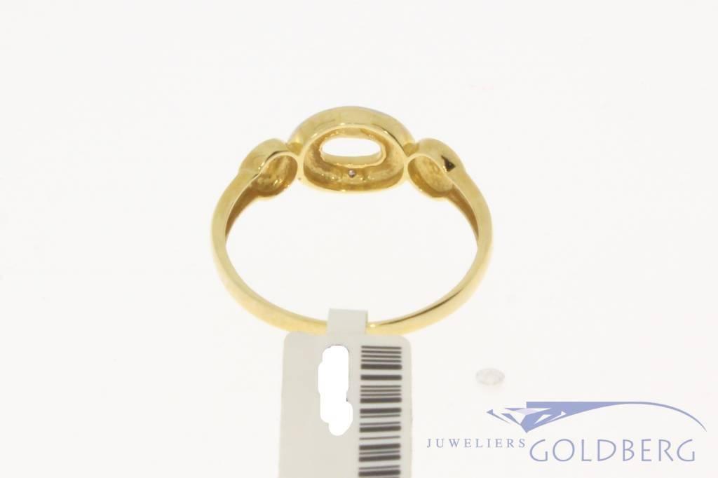 Vintage 14k bicolor gouden ring met ca. 0.02ct diamant