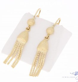 Vintage 14 carat gold matted tassel earrings