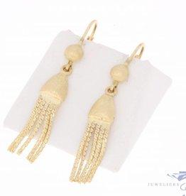Vintage 14k gouden gematteerde kwastjes oorhangers