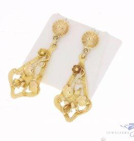 Vintage 14k gouden versierde oorstekers