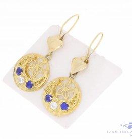 Vintage 14k gouden oorhangers met zirconia en synthetische saffier