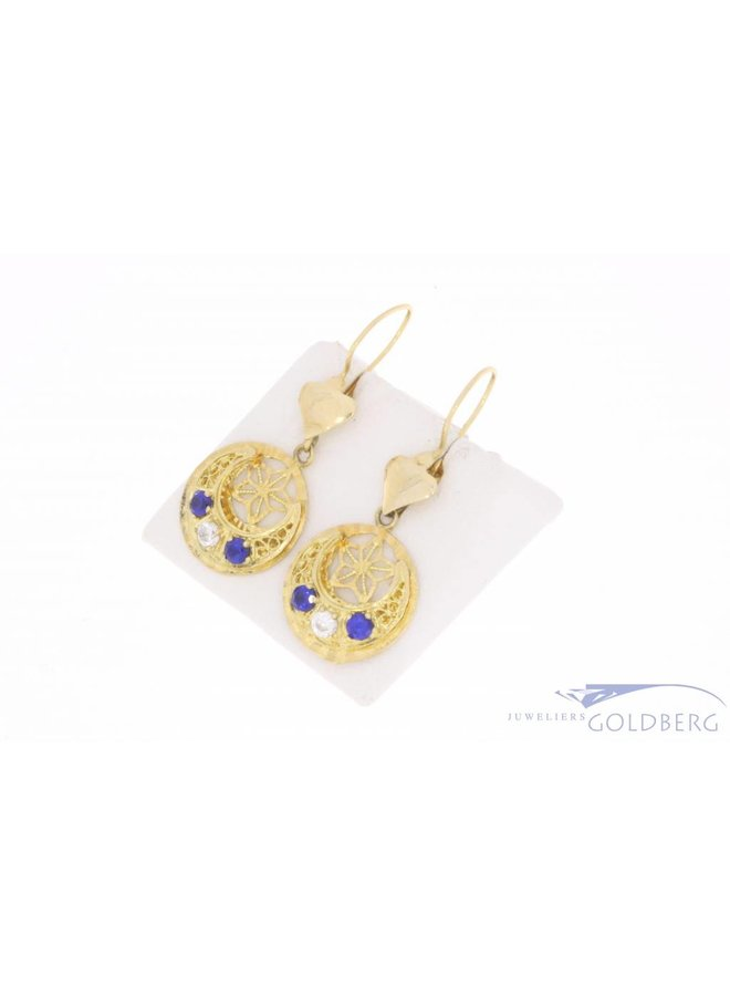 Vintage 14 carat gold earrings with zirconia and synthetic sapphire