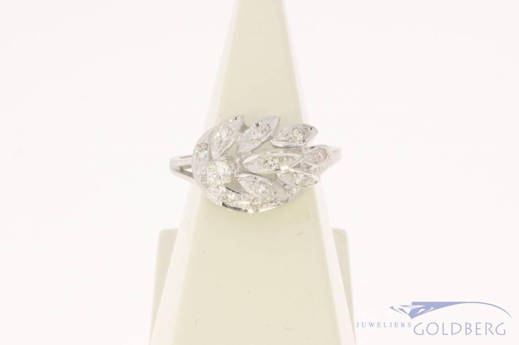 Vintage 14 carat white gold fantasy ring with ca. 0.25ct brilliant cut diamond