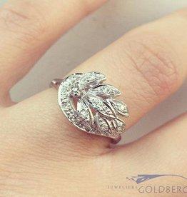 Vintage 14k witgouden fantasie ring met ca. 0.25ct briljant geslepen diamant