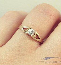 Vintage 18k gouden solitaire ring met ca. 0.20ct briljant geslepen diamant