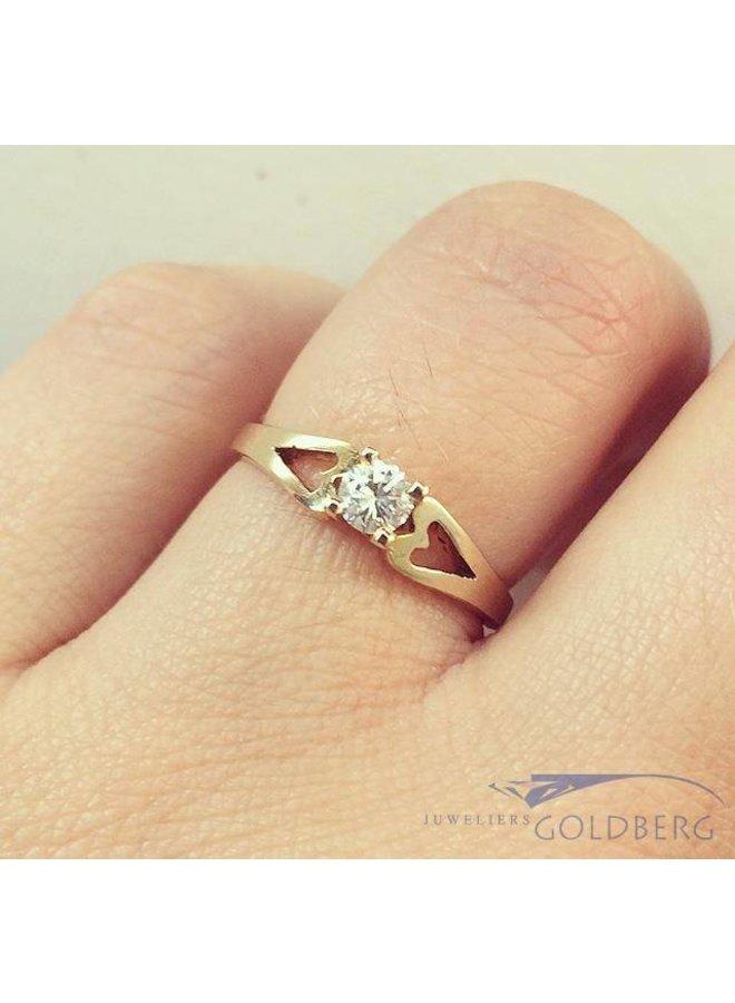 Vintage 18 carat gold solitair ring with ca. 0.20ct brilliant cut diamond