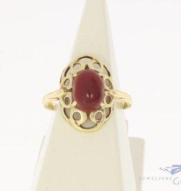 Vintage 14k gouden versierde ring met carneool