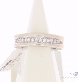 Vintage 18k witgouden Bulgari ring met ca. 0.64ct briljant geslepen diamant