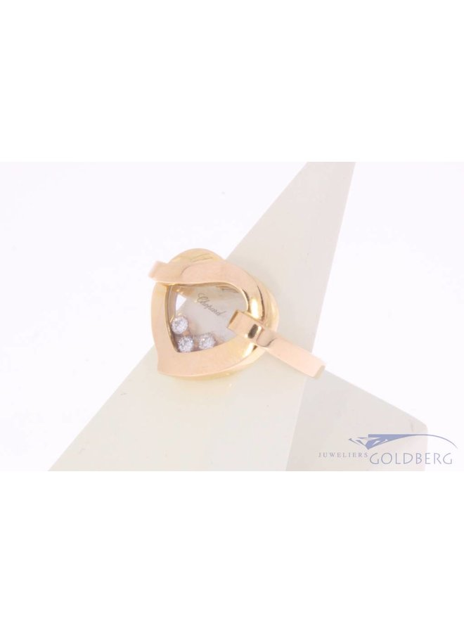 Vintage 18 carat rose gold Chopard Happy Diamonds Heart ring with approx. 0.15ct brilliant cut diamond