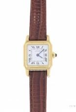 Vintage Cartier Santos Dumont Privee 18k gouden & leren horloge met saffier