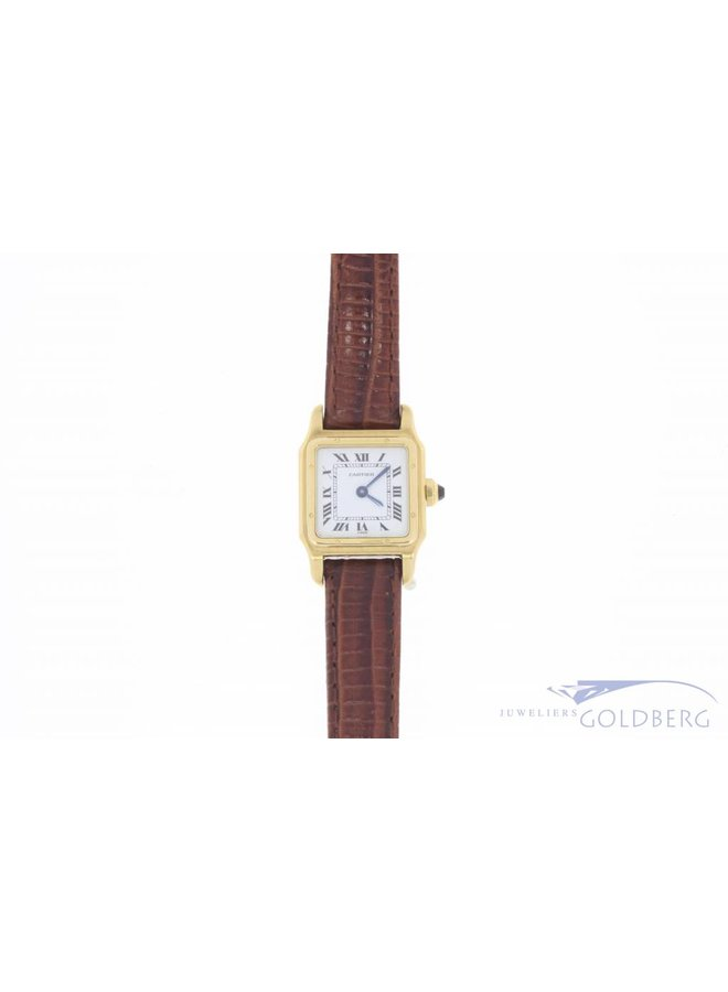 Vintage Cartier Santos Dumont Private 18 carat gold & leather watch with sapphire