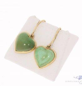 Vintage 18k gouden hartvormige oorhangers met groene turkoois