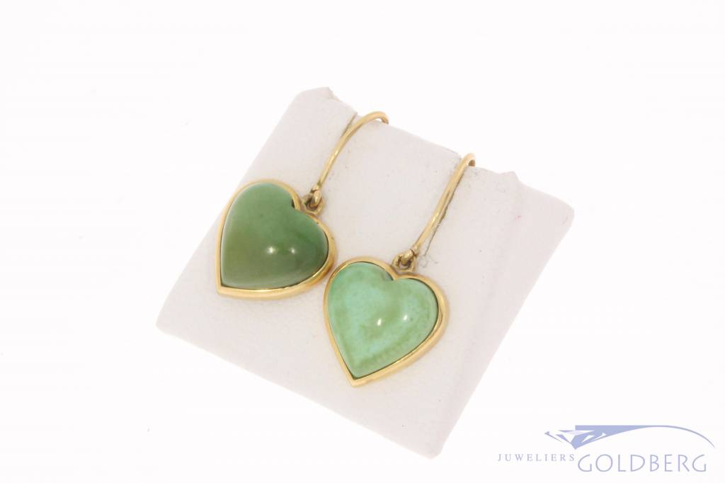 Vintage 18 carat gold heart shaped earrings with turquoise