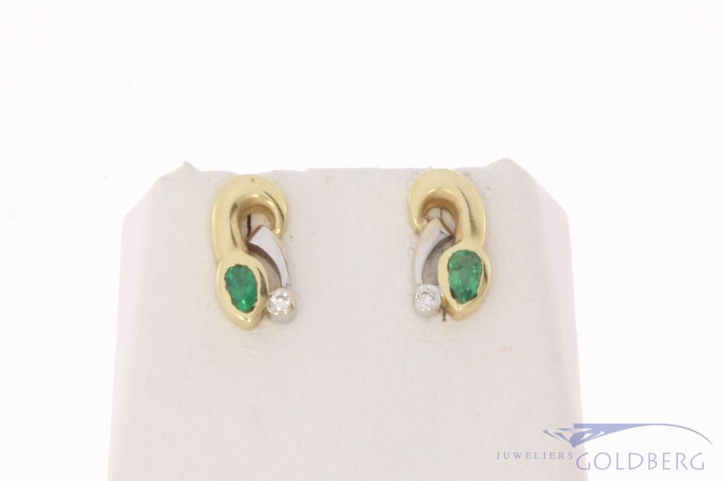 Vintage 14 carat bicolor gold earrings with emerald and approx 0.04ct brilliant cut diamond