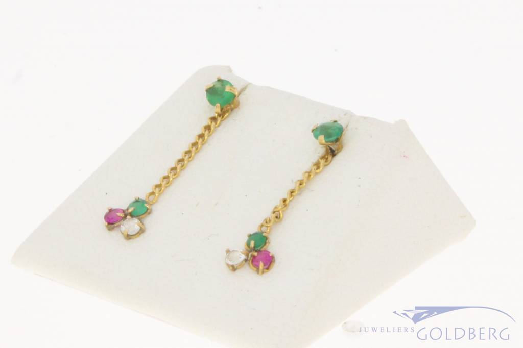 Vintage 18 carat gold earstuds with zirconia, synthetic emerald and synthetic ruby