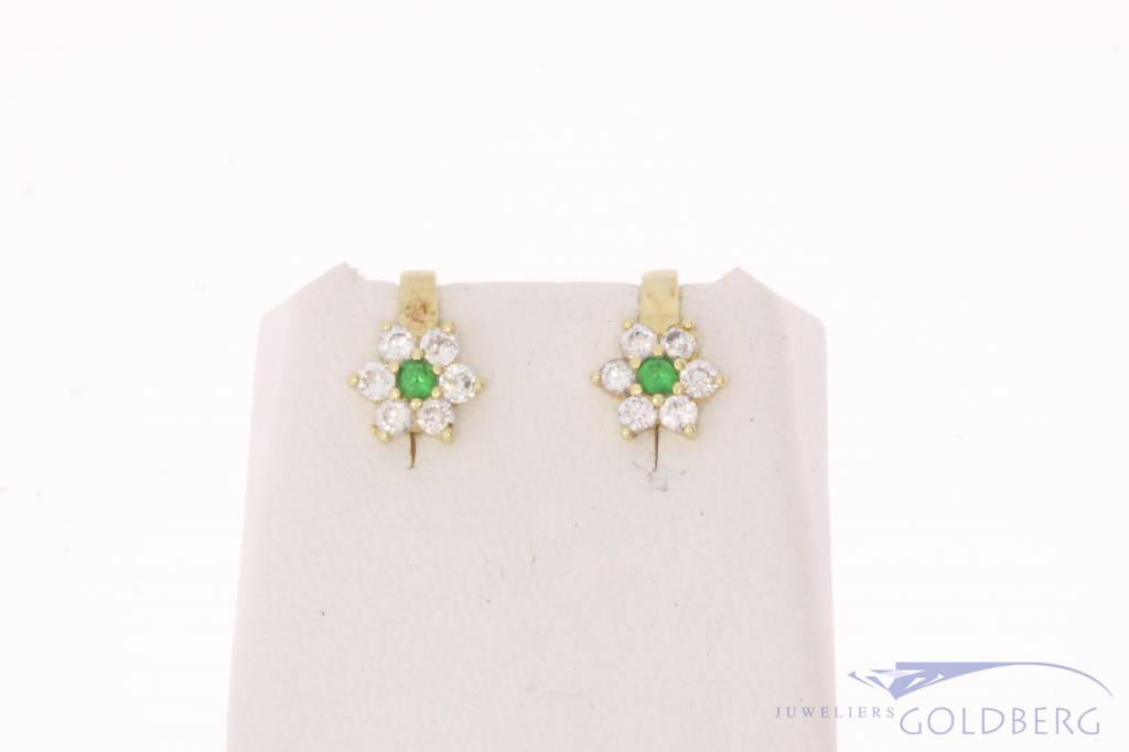 Vintage 14 carat gold ear studs with zirconia and synthetic emerald