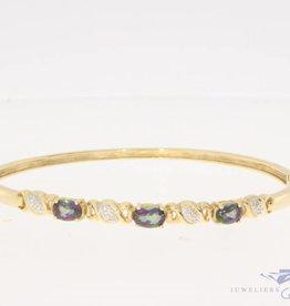 Vintage 14k gouden slavenarmband met toermalijn en ca. 0.04ct diamant