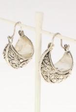 Vintage silver adorned creole earrings