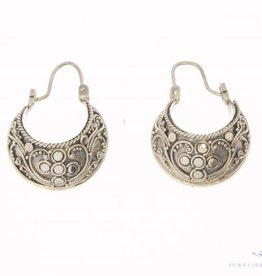Vintage silver adorned creole earrings