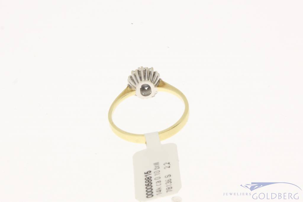 Vintage 14 carat gold rosette ring with blue sapphire and approx. 0.10ct brilliant cut diamond