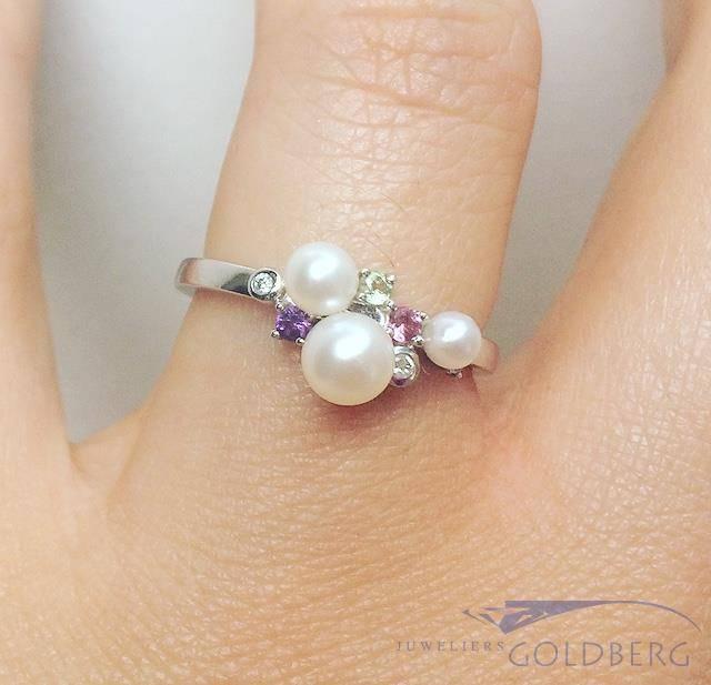 Vaak Vintage 14k witgouden ring met parel, amethist, rozenkwarts  YB28