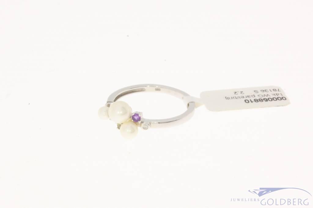 Super Vintage 14k witgouden ring met parel, amethist, rozenkwarts  TR93