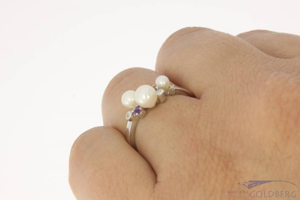 Favoriete Vintage 14k witgouden ring met parel, amethist, rozenkwarts  XN28