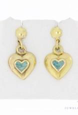 Vintage 14 carat gold enamel earrings