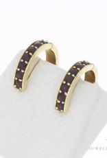 Vintage 14 carat gold creole earrings with garnet