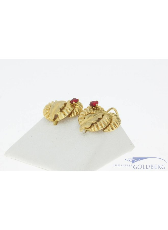 Vintage 18 carat gold studded earrings with synthetic ruby