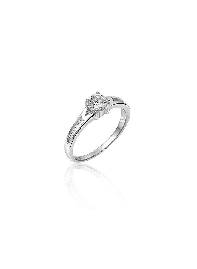Zilveren solitair ring 4-poots met 5mm zirconia