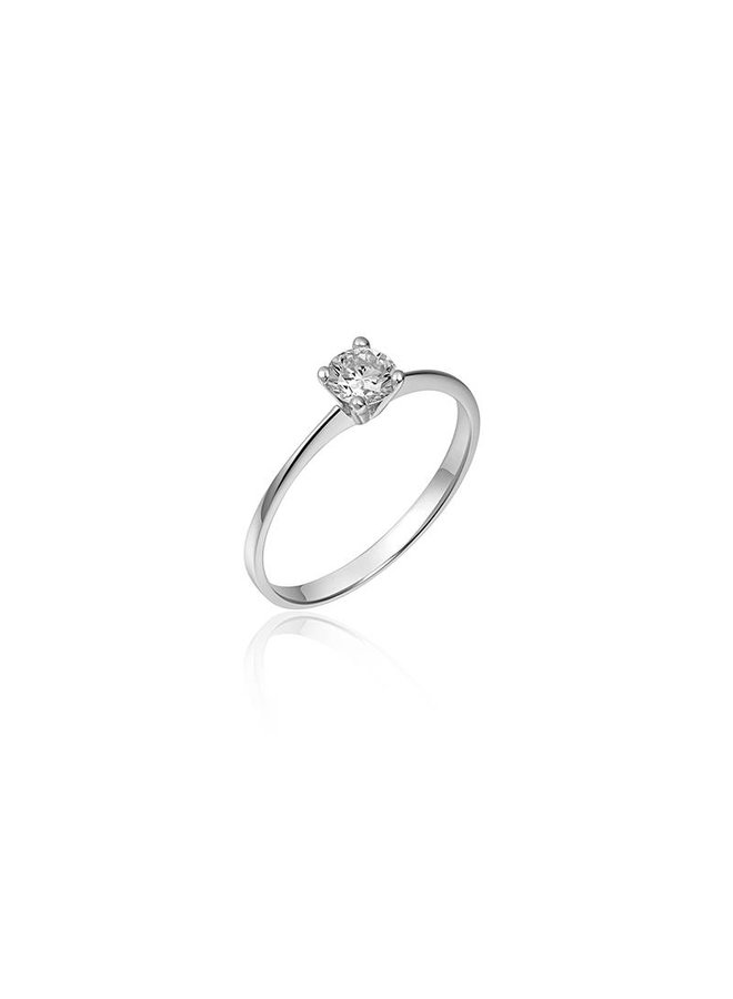 Silver solitaire engagement ring 4,5mm zirconia