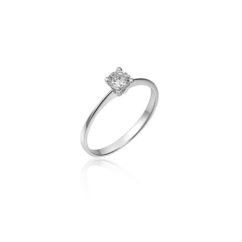 Zilveren solitair ring 4-poots V-zetting met 4,5mm zirconia