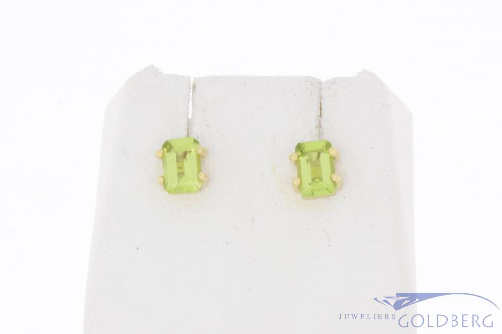 Vintage 18 carat gold ear studs with peridot