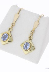 Vintage 14 carat gold earrings with aquamarine