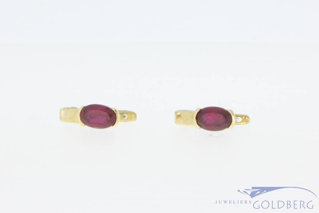 Vintage 14 carat gold earrings with synthetic ruby