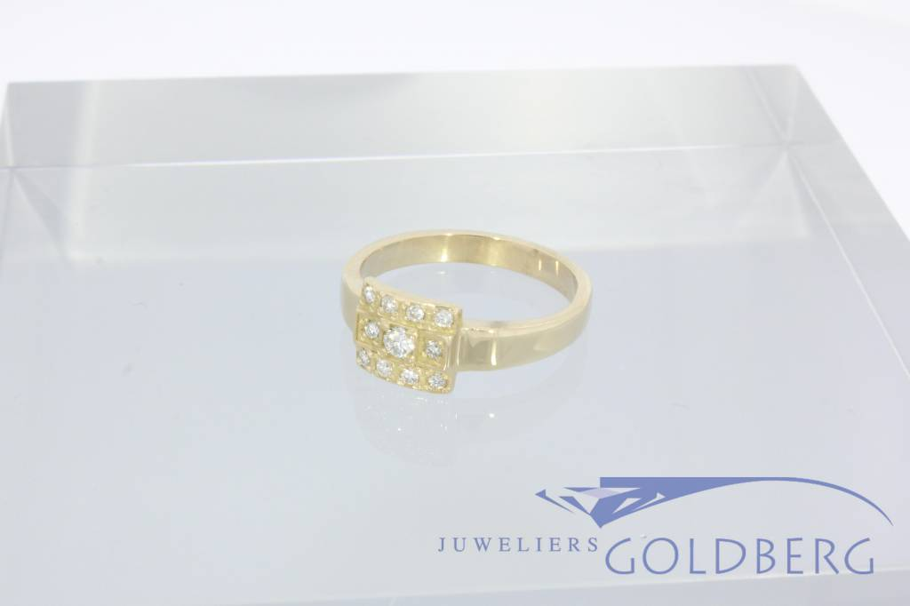 14k gouden Goldberg design ring met 0.14ct briljant