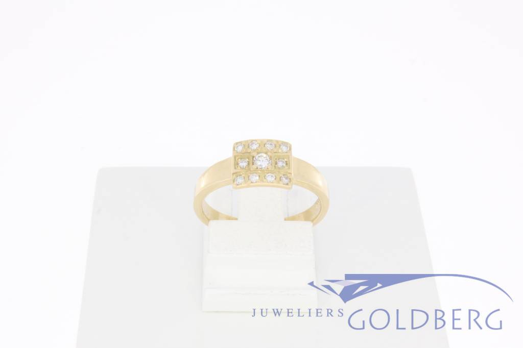 14k gold Goldberg design ring with 0.14ct diamond