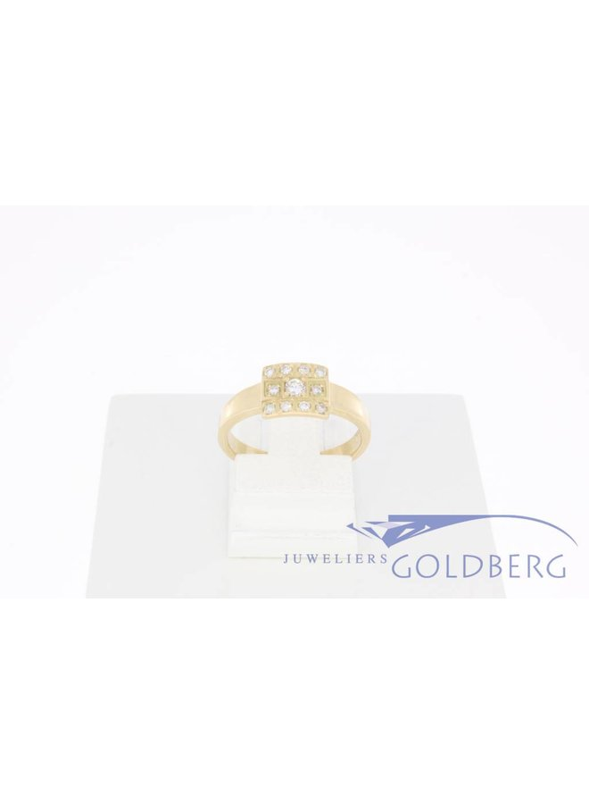 14k gouden Goldberg design ring met 0.14ct briljant