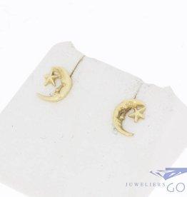 Vintage 14k gouden oorstekers maan & ster