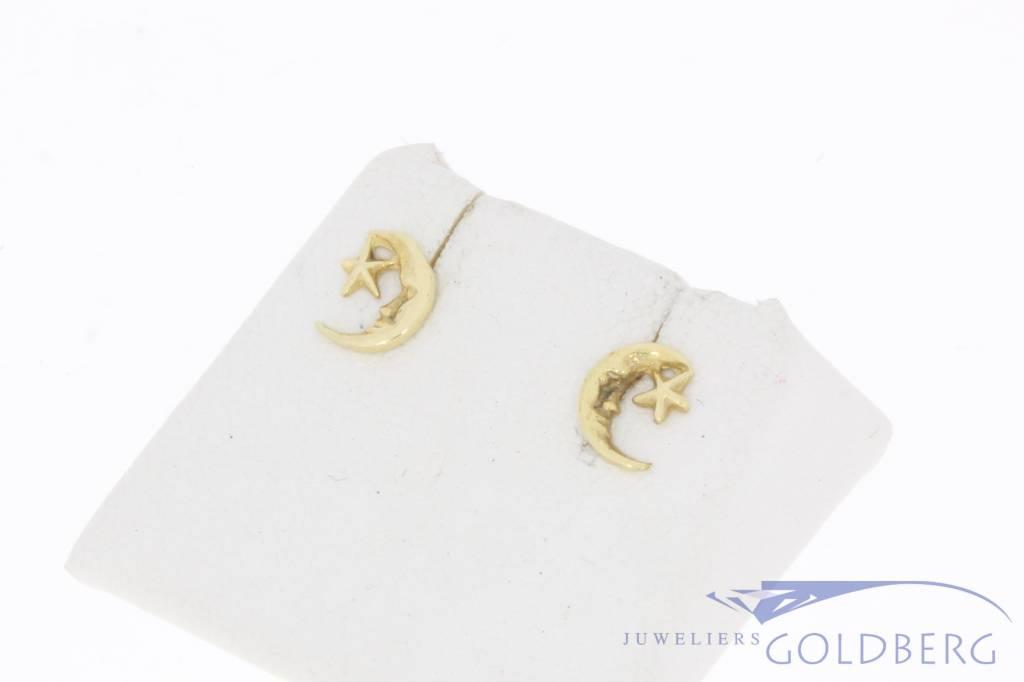 Vintage 14 carat gold ear studs moon & star