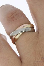 Vintage 14 carat gold tricolor 3-in-1 ring
