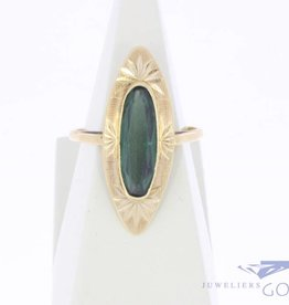 Vintage 14 carat gold ring with green tourmaline