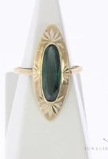 Vintage 14 carat gold ring with green tourmaline