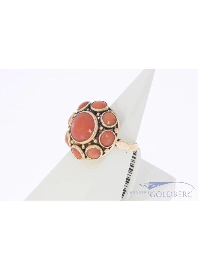 Vintage 14k gouden ring met ronde bloedkoralen