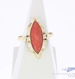 Vintage 14k gouden ring met bloedkoraal